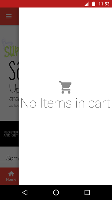 Empty Cart in slider from right side